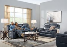 Milano Blue 2 Pc Leather Reclining Living Room..  Find affordable Reclining Living Rooms for your home that will complement the rest of your furniture. #iSofa #roomstogo