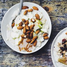 Oat porridge no 1 with dulche de leche, fresh apples and almonds at our new shop in guldbergsgade!  Thx for the picture: @issycroker