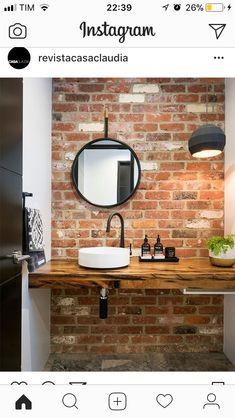 20 Masculine Bathroom Ideas With Exposed Brick Walls Bathroom Decor Ideas Bathroom Brick Exposed Ideas Masculine walls Brick Tiles Bathroom, Small Bathroom Sinks, Modern Bathroom Tile, Small Bathtub, Small Sink, Bathroom Tile Designs, Wood Tiles, Bathroom Ideas, Minimalist Bathroom