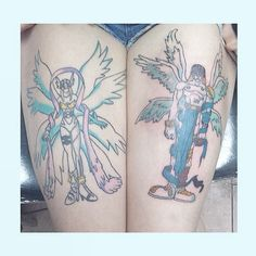 Completion feels great! I am so in love thank you Colin you're the best! #tattoos #mytattoos #tatted #angemon #angewomon #digimon #anime #otaku #digimontattoo #art #love #colouredin #couple #completion