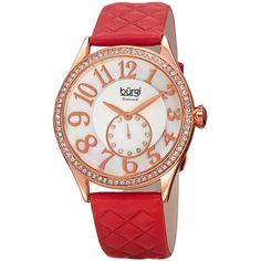Burgi Burgi Women's Quilted Pattern Strap Watch, 46mm - Red ($93) ❤ liked on Polyvore featuring jewelry, watches, red, red jewelry, leather strap watches, water resistant watches, red watches and dial watches