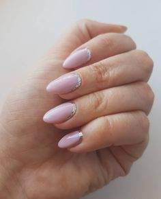 Purple-pink nails with silver glitter By @usvictorianails