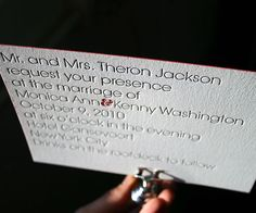 Modern minimalism at its posh best, Avant by Ben Whitla is a letterpress invitation with simple classic wedding style.