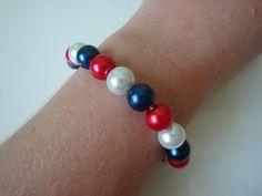 The Queens Jubilee Bracelet by traceysjewellery on Etsy, Pearl Bracelet, Beaded Bracelets, Blue Pearl, Handmade Jewellery, 4th Of July, Queens, Pearls, Diamond, Red