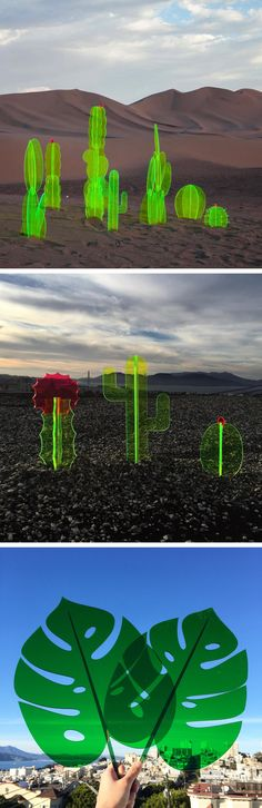 Fluorescent Cacti and Leaf Sculptures by Nobel Truong
