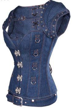 Blue Denim Corset, can not whitout denim in your closet Diy Jeans, Jeans Denim, Denim Top, Steampunk Corset, Steampunk Clothing, Shirt Makeover, Steampunk Fashion Women, Womens Fashion, Corset Vintage