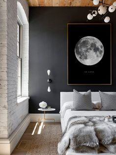 Hard to dislike dark blue colors and gold touches.Full Moon Poster La Luna Printable Full Moon Print by printabold with a white brick wall, lots of textures, scandi bedroom, modern side table, accent pillows and a dark blue wall. Scandi Bedroom, Trendy Bedroom, White Bedroom, Home Decor Bedroom, Bedroom Modern, Bedroom Ideas, Bedroom Designs, Bedroom Bed, Warm Bedroom