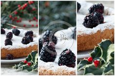 Collage with details of #blackberry #cake on #Christmas table, decorated with blackberries and holly. #FOODPORTFOLIO #FOODPHOTOGRAPHY #FOODPHOTOGRAPHER #FOOD