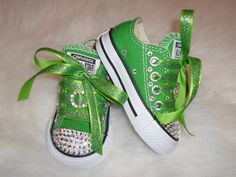 Items similar to St Patrick's day shoes infant toddler luck of the Irish go green golf Chuck Taylors Crystals Bling ALLSTAR rhinestones photo prop on Etsy Bling Baby Shoes, Bedazzled Shoes, Cute Baby Shoes, Baby Girl Shoes, Girls Shoes, Bling Sandals, Converse Star, Baby Converse, Bling Converse