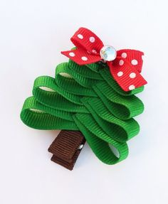 Free Shipping on orders of 15 dollars or more.. Christmas Tree Ribbon Sculpture Hair Clip - Holiday Hair Clips - Toddler Hair Bows. $3.50, via Etsy.