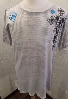 NWT Affliction LIVE FAST BLK PRM 73 Metallic Blue Distressed Mens T-Shirt S 2XL  #Affliction #GraphicTee
