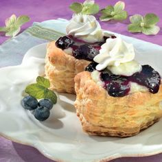 Vol-au-Vent is the French name for a puff pastry shell with a lid...ours are filled with pastry cream and a lemon-blueberry sauce to create these delicate individual desserts.