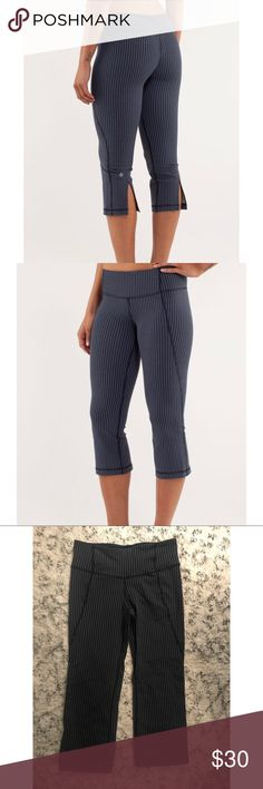 Lululemon Gather & Crow Crop Stripe Leggings In excellent pre owned condition! Hidden waist and pocket. Slit on the rear hem at calves! lululemon athletica Pants Leggings
