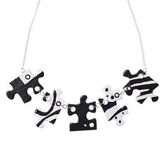 Jigsaw Puzzle Necklace - black and white
