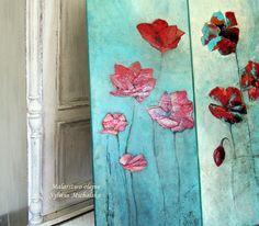 Kwiaty - malarstwo olejne, abstrakcyjne ujęcie, obraz na blejtramie 100x40 cm