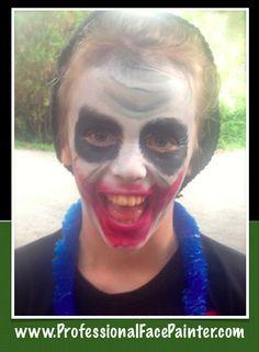 The Joker. (Creepy)  Face painting moments at its finest.   #ProfessionalFacePainter #SoCal #Batman