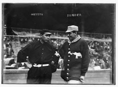 BASEBALL'S Native Americans: Photo - Chief Meyers, Giants (L) and the A's Chief Bender. In 1899,  Louis Sockalexis played his last major league league. He was the first Native-American major leaguer. 20 more would follow between 1900-1920. Best known were Meyers, Zach Wheat, Bender, and Jim Thorpe. Meyers started with the Giants in 1909. He also played for the (Brooklyn) Robins and Boston Braves. Meyers was on three Giants' league champions. He was Christy Mathewson's trusted  battery mate.