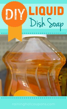 DIY Liquid Dish Soap - not holding my breath on this one (I often find that liquids made with borax don't turn out well for me), but I'm still going to try it. Homemade Cleaning Supplies, Diy Home Cleaning, Cleaning Recipes, Soap Recipes, Cleaning Hacks, Cleaning Solutions, Diy Cleaners, Cleaners Homemade, Household Cleaners