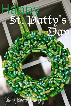 LOVE this St. Patty's Day ribbon wreath. too cute via @sheskindacrafty
