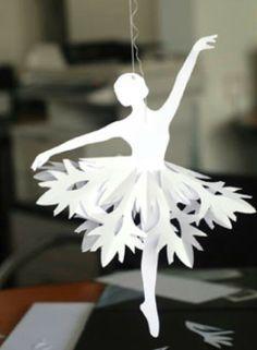 Handmade paper ballerina with snowflake tutu