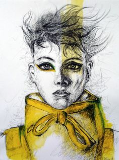 yellow drawing drawings ink painting tangled