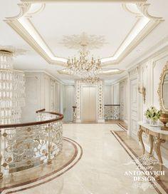 Элитный дизайн проект дома с роскошным холлом в классическом стиле от студии Antonovich Design
