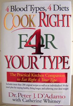If you can't figure our why you don't lose weight and why you feel bad after you eat, you should read this book 'Cook Right For Your Type'. It will explain so much about you and your blood type and relationship with food and specific dietary needs to heal, fuel, and balance your body!
