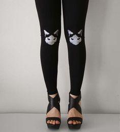 Sneaky Cat Womens Black Leggings