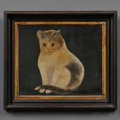 American School, 19th Century, Portrait of a Seated Cat. Auction 2710B | Lot 356 | Sold for $1,599