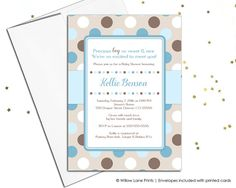 Printable baby boy shower invite - blue and brown baby shower ideas - digital baby shower invitations - or printed invitations - WLP00758 by WillowLanePaper
