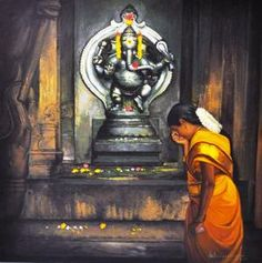 Tamil girl Praying to elephant Hindu god Pillaiyar - Painting by S. Elayaraja