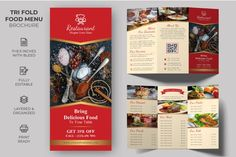 Tri-fold Food Menu Brochure Template #a4 #brochure #cooking #delivery #dinerflyer #fastfood #fastfood #food #foodmenu #grill Restaurant Menu Template, Menu Restaurant, Resume Templates, Brochure Template, Tri Fold, Marketing Materials, Business Branding, Journal Cards, Food Menu