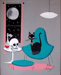 El Gato Gomez painting - black cat with skull Halloween Art Projects, Halloween Prints, Black Cat Art, Black Cats, But Is It Art, Cat Sketch, Cat Tattoos, Vintage Hawaii, Cat Cards