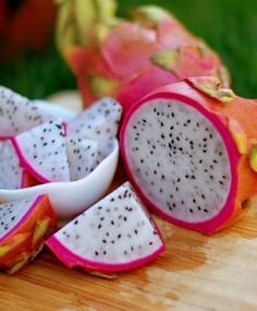 Dragon Fruit - one of the prettiest fruits that you can ever eat! It is simply a color burst which also looks like a blend of kiwi and pear. It is found mostly in Mexican land , from Iryna