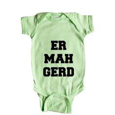 Er Mah Gerd Oh My God OMG Picture Pictures Internet Online Computers Computer Meme Memes SGAL6 Baby Onesie / Tee