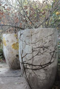 Concrete Pots with Painted Branches ≔ Claire Basler (French, born 1960) ≕