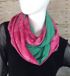 Pink and green crushed velvet infinity scarf wrap by DeZeStar