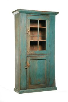 PRIMITIVE ONE-PIECE PAINTED WALL CUPBOARD. Lot 1491