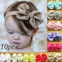 Material:Chiffon+Elastic hair band Color:10 kinds Bow length:10cm band:34-50cm Package include:10 di