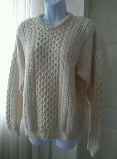 Blarney Hand Knit Aran Crew Neck Fisherman Chunky Cable Knit Wool Sweater Large