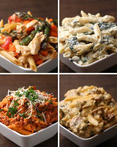 Penne 4 ways massa penne, pasta dinners, penne alla vodka, penne pasta, pas Pasta Recipes, Chicken Recipes, Dinner Recipes, Cooking Recipes, Healthy Recipes, Eat Healthy, Chef Club España, Bien Tasty, Pasta Dinners