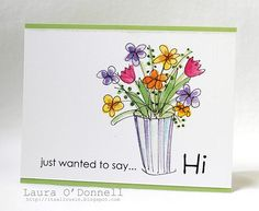 made for the March contest, Spring Hello. I used the Hero Arts Garden Flower Sketches digital kit and sentiment from Say It In Pieces digital kit. This digi stamp is precolored so I printed it out and then ran it thru the Papertrey Linen Impression Plate and put it on a Memory Box notecard.
