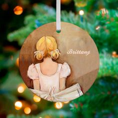 Beautiful Ballerina Blonde Personalized Ornament by Kristina Bass Bailey