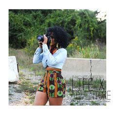 African Print Green, Burgundy, Orange, Black and White High Waist Shorts. Ankara Wax Fabric