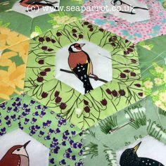 Hand-quilting my half hexie garden birds patchwork quilt. Fabrics from Sea Parrot. Garden Birds, Bird Quilt, Patchwork Fabric, Hand Quilting, Textile Art, Parrot, Fabric Design, Applique, Fabrics