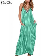 Boho Style Bohemian Summer Women Strapless Polka Dot Casual Loose Long Maxi Dress Leisure Cotton Beachwear Vestidos Plus Size Vestidos Plus Size, Vestidos Sexy, Vestidos Vintage, Vintage Dresses, Sexy Maxi Dress, Sexy Dresses, Boho Dress, Dress Beach, Dress Long
