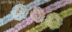 Set of 3 Fancy Shabby Flower Headbands, photo prop, wedding headband, wedding accessory, fancy baby headband