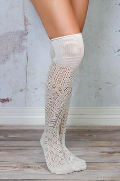 Ivory Thigh High Patterned Boot Socks