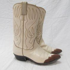 Vintage Ladies 7b Justin Cream Leather Reptile by AustinReBoot
