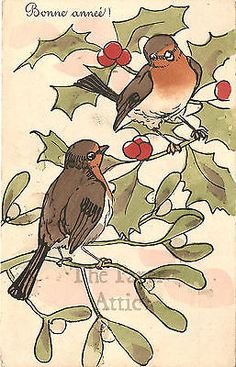 Pretty Birds & Holly Antique Vintage French Christmas Postcard